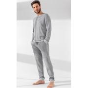 Pijama Masculino Adulto Mixte Manga Longa com Calça Listrado Cinza em Ribana der Algodão 1013