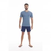 Pijama Masculino Adulto Paulienne Blusa listrada e Bermuda Marinho em Liganete 09565 B46