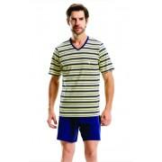 Pijama Masculino Adulto Paulienne Camiseta com Bermuda  em Algodão Azul marinho com Amarelo 11562