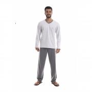 Pijama Masculino Adulto Paulienne em Algodão Flanelado Cinza Mescla 37465