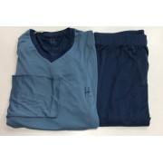 Pijama Masculino Dressy Adulto Longo Azul em Liganete 3389