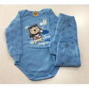 Pijama Masculino Infantil bebe Rolu Body com Calça Flanelado Quente Estampa Urso Azul que brilha no escuro 9293