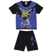 Pijama Masculino Infantil Lupo Curto Preto com Azul Personagem Batman