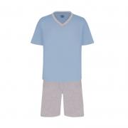 Pijama Masculino Lupo Manga Curta com Bermuda Azul Claro em Algodão 28800