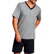 Pijama Masculino Lupo Manga Curta com Bermuda Cinza em Algodão 28800