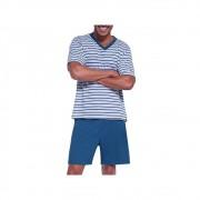 Pijama Masculino Lupo Manga Curta Listrado com Bermuda em Algodao 28021