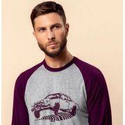 Pijama Masculino Mixte Blusa Estampa Carro Vinho e Bermuda em Modal 9287