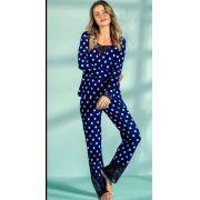 Pijama Mixte Feminino Adulto Blusa com Renda e Calça em Liganete Estampa Poá