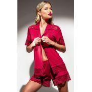 Pijama Mixte Feminino Adulto Modal Cardigan e Short Vermelho Rendado