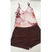 Pijama Shortdoll  Feminino Paulienne Básico com Alca Regulável 18663 -01