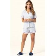 Pijama Short doll Feminino Lua Encantada  Adulto manga curta com botões Mescla em algodão 2141322