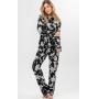 Pijama Feminino Adulto Cardigan com Calça  Preto e Branco em Modal Linha Premium 9925