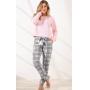 Pijama Feminino Adulto Mixte Manga Longa Rosa com Calça Xadrez Cinza em Soft extra quente Premium 9986
