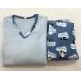 Pijama Feminino Adulto Paulienne Azul bebe Estampado Pinguim em Microsoft Extra quente 23365