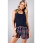 Pijama Feminino Mixte Regata com shorts Xadrez 1193