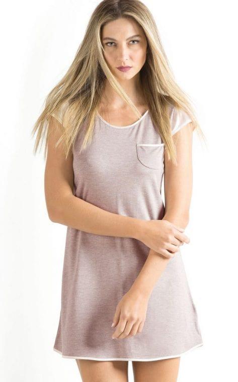 Camisola Feminina Adulto Mixte Cinza em Modal com Cetim Linha Premium  8037