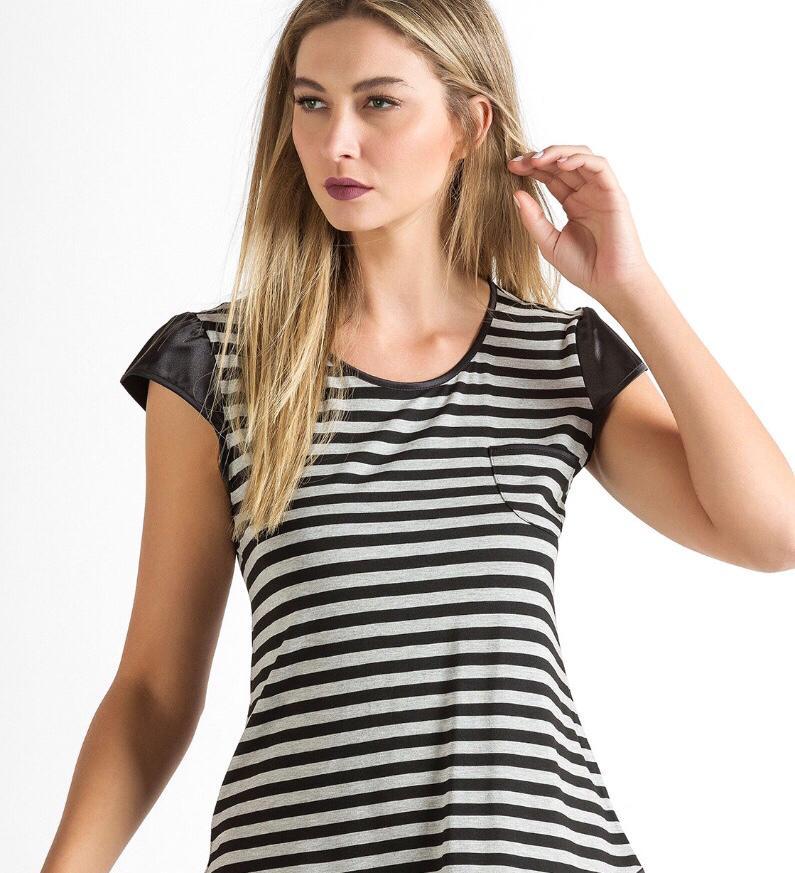Camisola Feminina Adulto Mixte Listrada em Modal com Cetim Linha Premium  8292