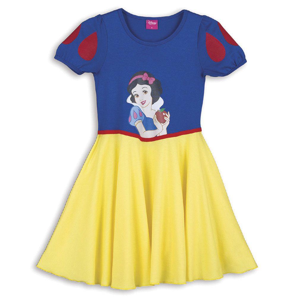 Camisola Feminina Infantil Lupo de Manga Curta da Branca de Neve com Tiara