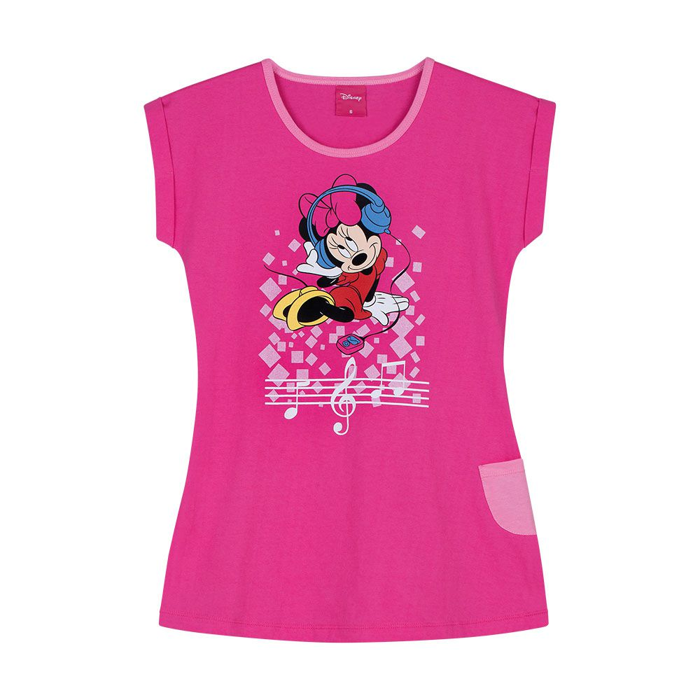 Camisola Feminina Infantil Lupo Manga Curta Pink da Minnie 100% Algodão