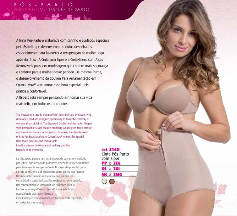 Cinta Modeladora pós Parto  chocolate Esbelt 3140