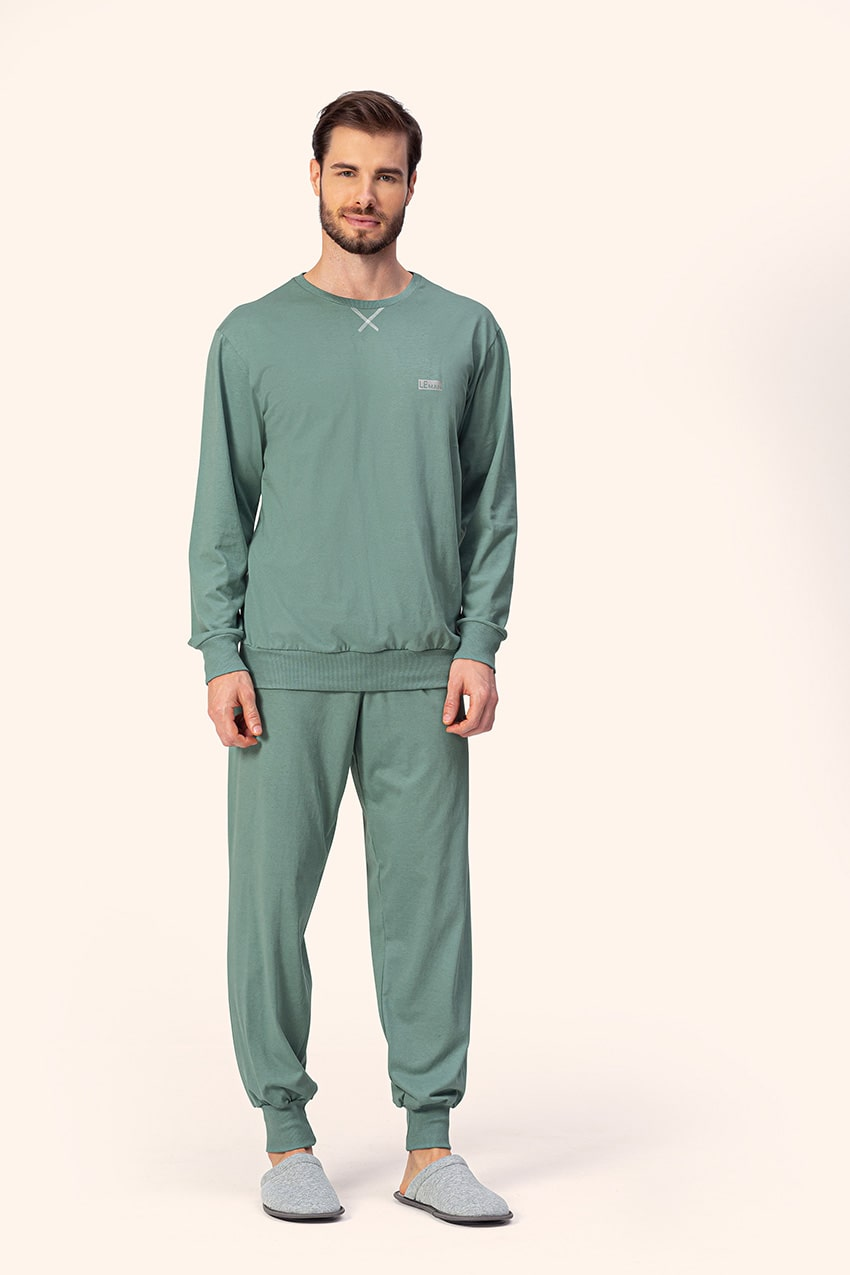 Pijama Adulto Masculino Longo Erva Doce com Punho em Moletom Flanelado 12000024