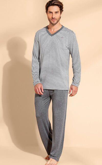 Pijama Adulto Masculino Mixte Listrado Cinza em Modal 9748