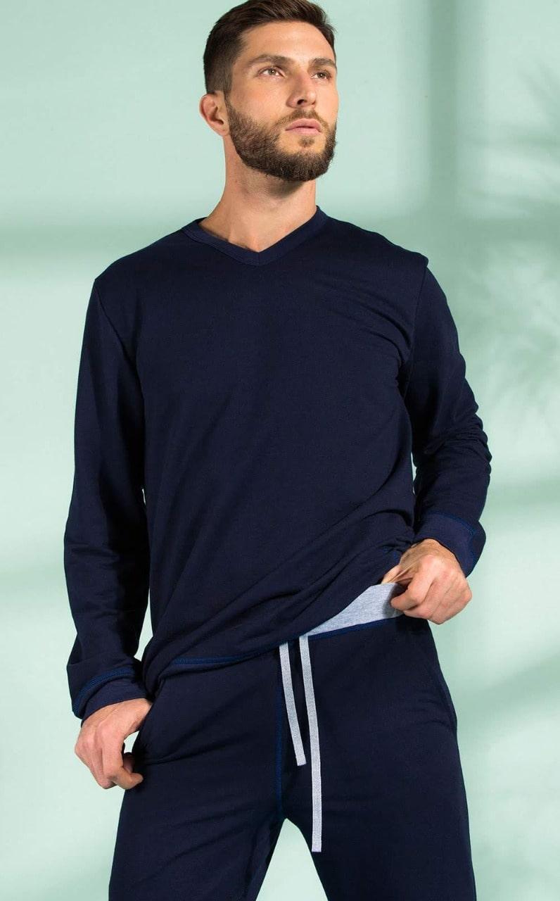 Pijama Adulto Masculino Mixte manga Longa com Calça Azul Marinho em algodão especial 9302