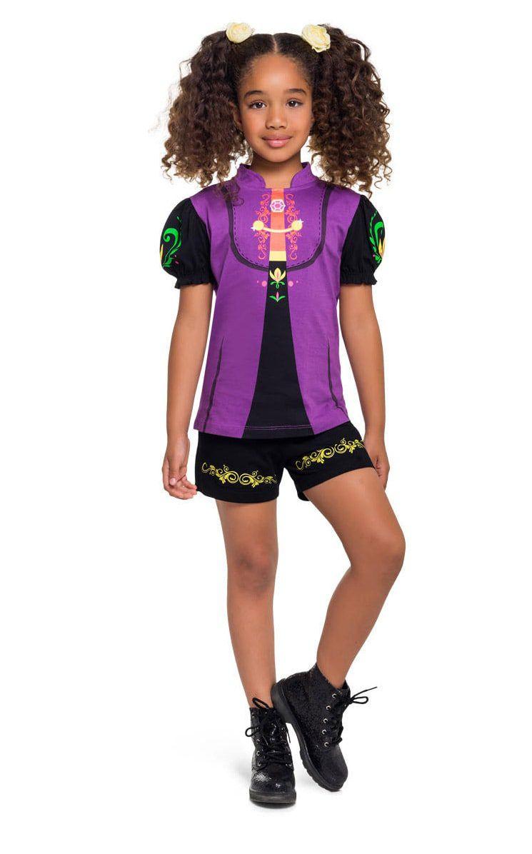Pijama Fantasia Feminino Infantil Veggi Manga Curta Personagem Anna da Frozen 2