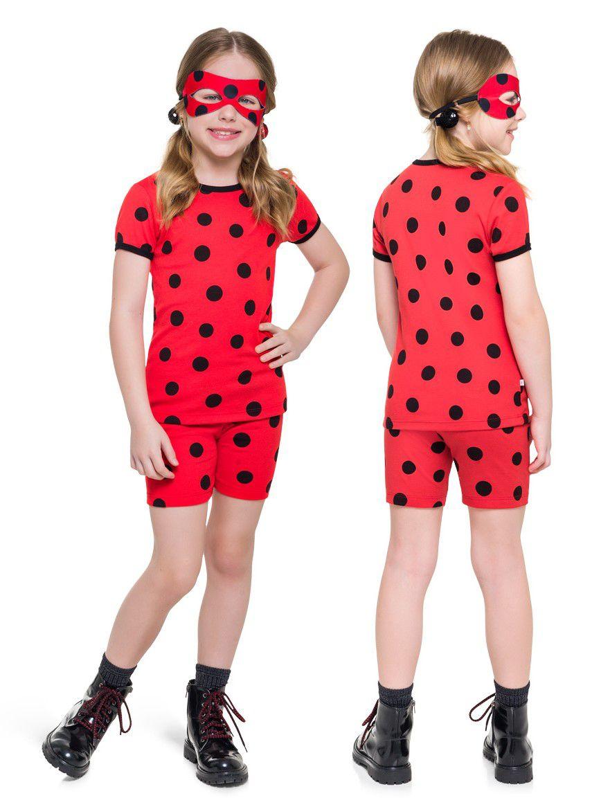 Pijama Fantasia Feminino Infantil Veggi Manga Curta Personagem Ladybug Kids