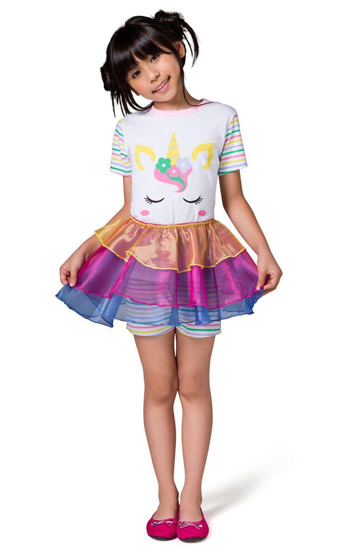 Pijama Fantasia Feminino Infantil Veggi Manga Curta Unicórnio com Saia Removível Kids e Teen