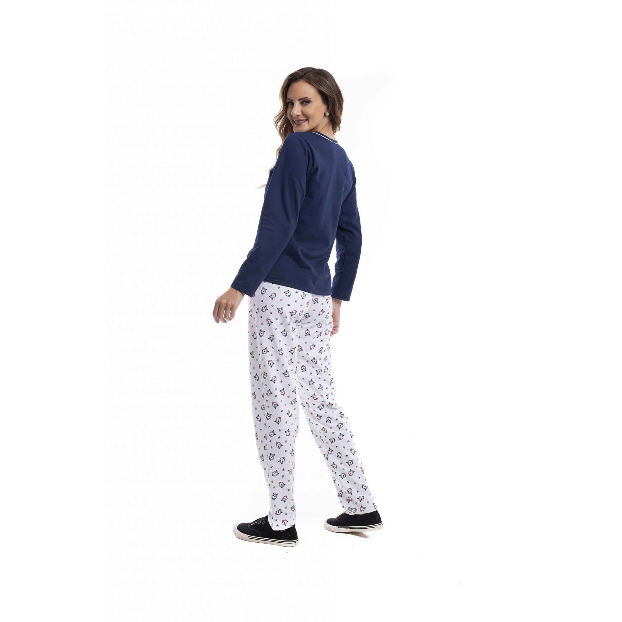 Pijama Feminino Adulo Longo Flanelado Marinho com Estampa Husky 23265