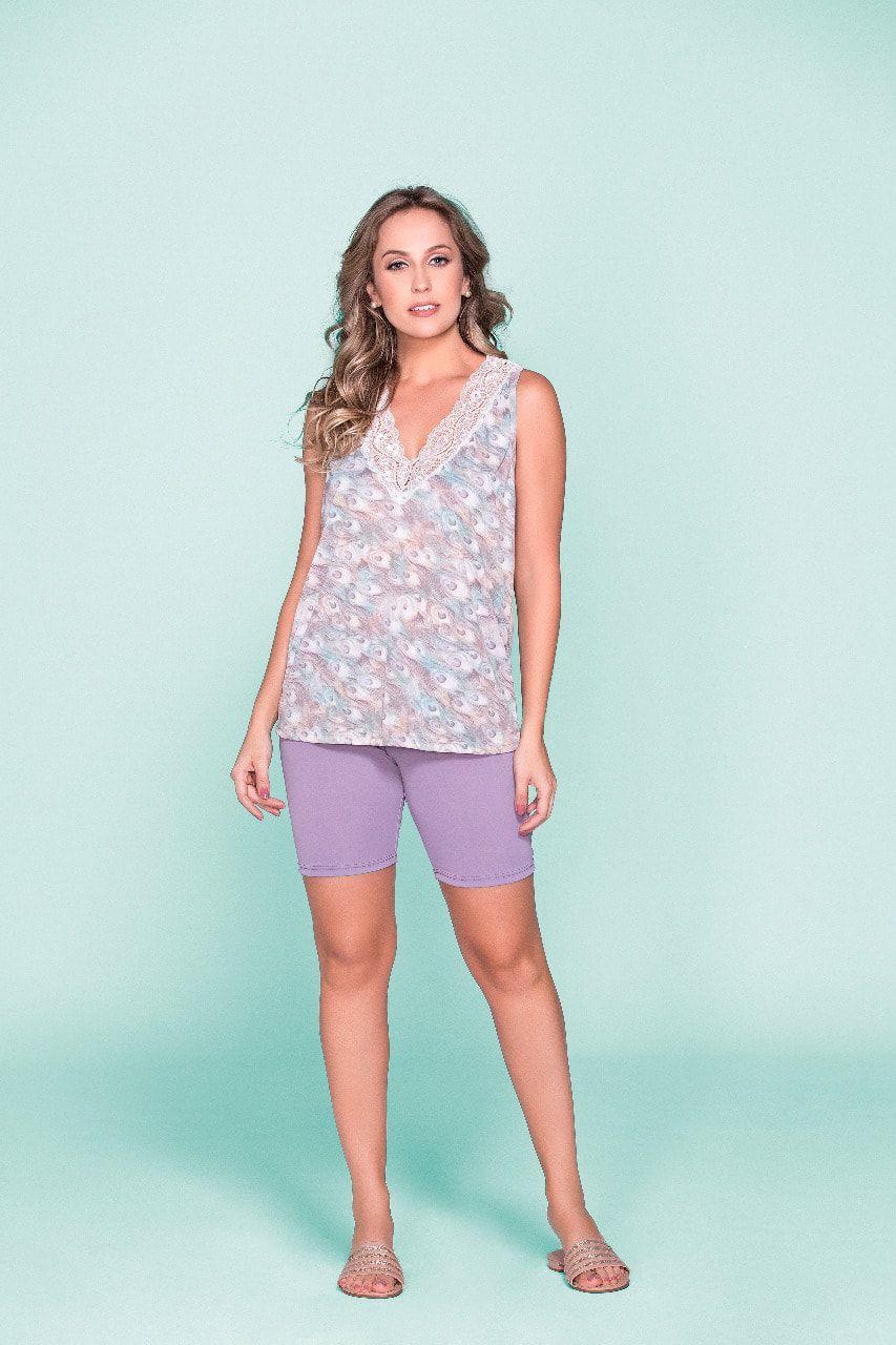 Pijama Feminino Adulto Blusa Regata com Renda e Bermuda em Liganete 2439