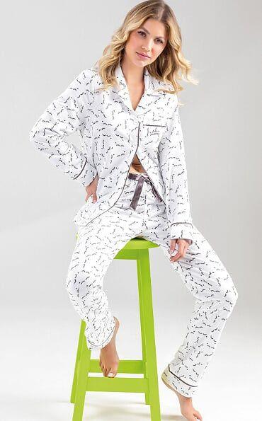 Pijama Feminino Adulto Cardigan Manga Longa com Calça Estampa de Cílios Charmoso em Moletinho 9610