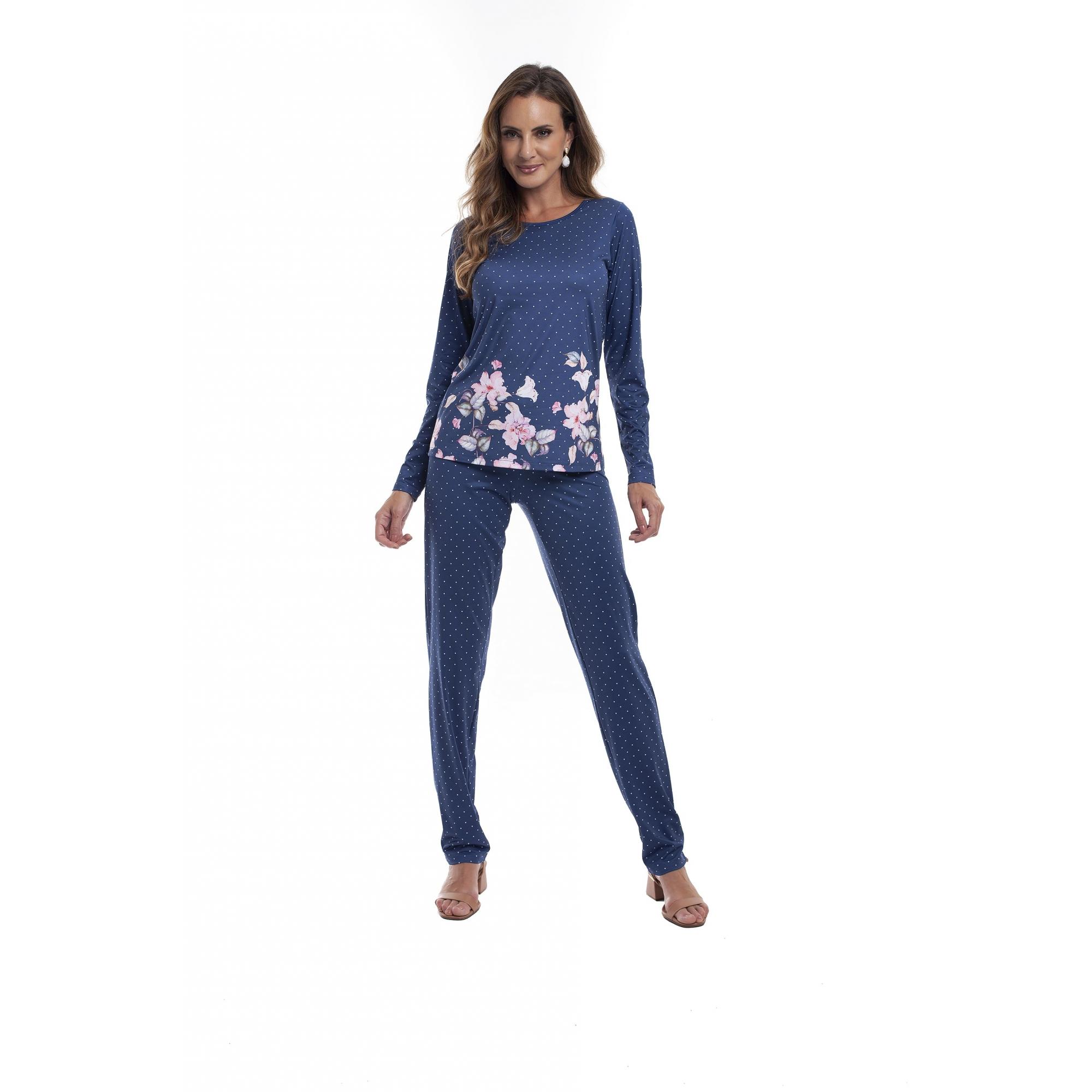 Pijama Feminino Adulto Estampado Floral e Poa Marinho com Branco em Tecido Sublime Soft 27765