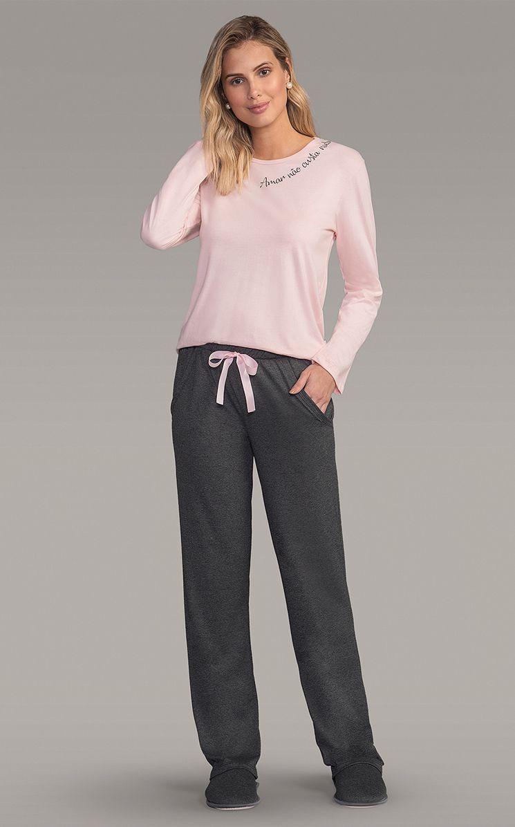 Pijama Feminino Lua Encantada Adulto Longo Estampado: Blusa Rosa e Calça Mescla