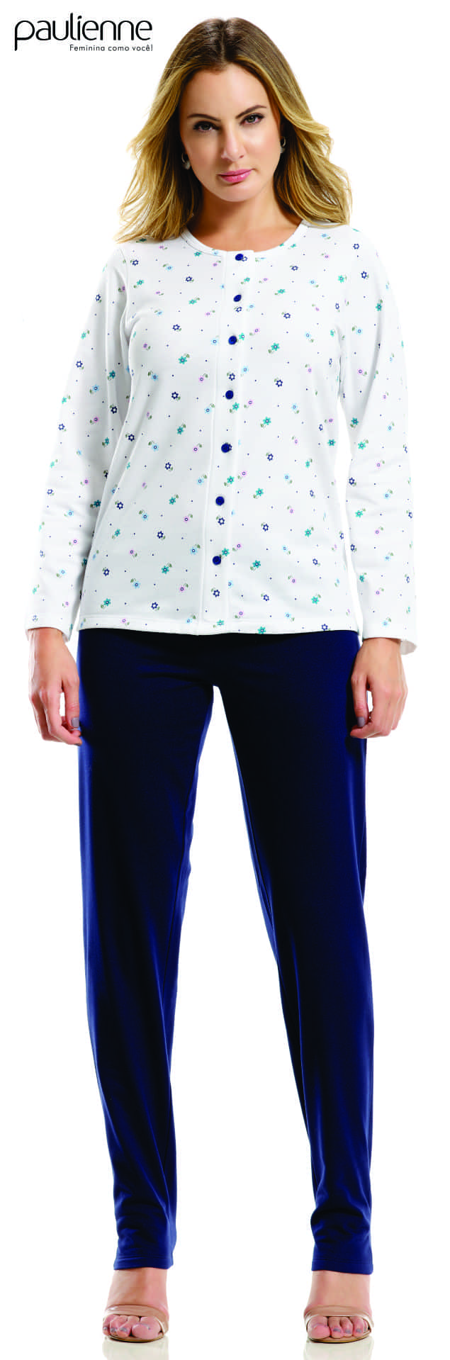 Pijama Feminino Adulto Longo Paulienne Aberto Flanelado Estampado A90 23062