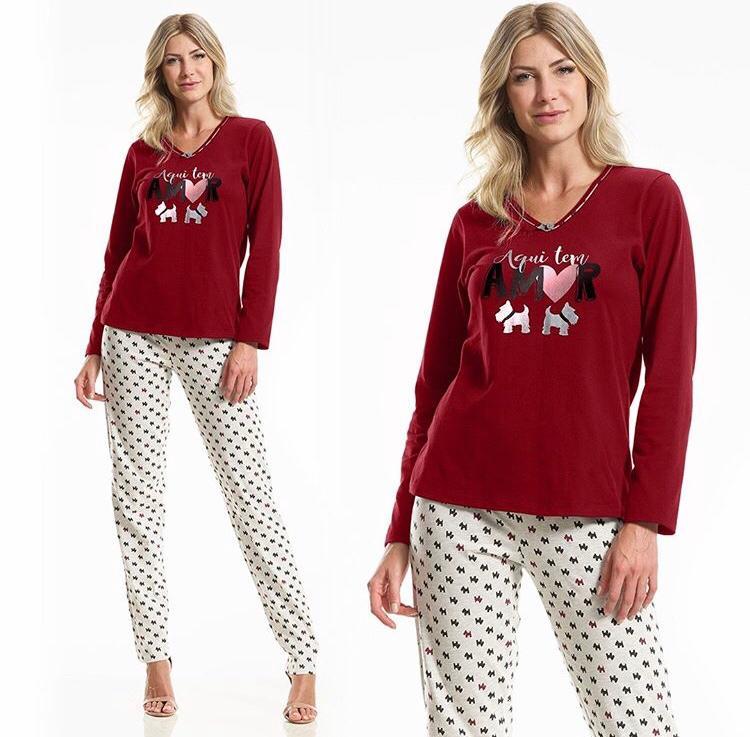 Pijama Feminino Adulto Longo Paulienne Flanelado Dog 23262
