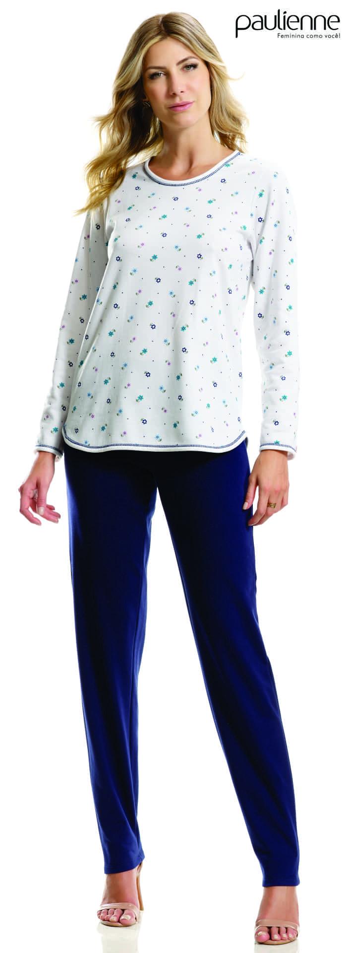 Pijama Feminino Adulto Longo Paulienne Flanelado estampa Floral A90 22962