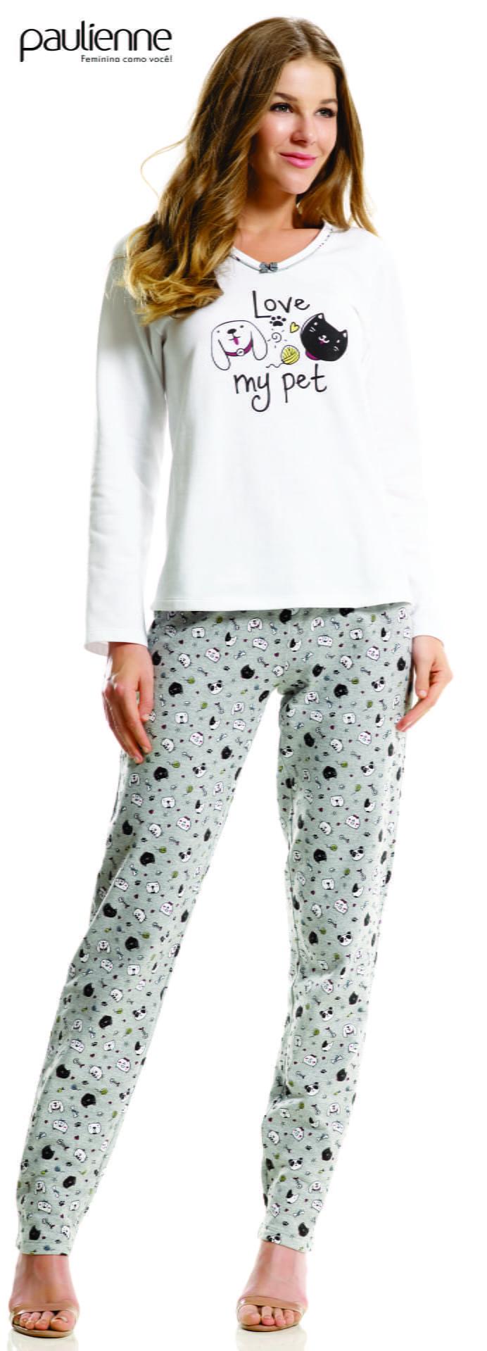 Pijama Feminino Adulto Longo Paulienne Moletom Flanelado Pet 23262