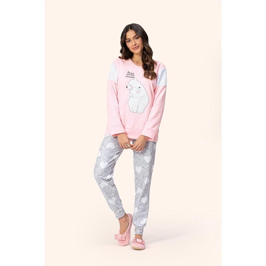 Pijama Feminino Adulto Lua Encantada em Soft  Extra quente Urso 15100006