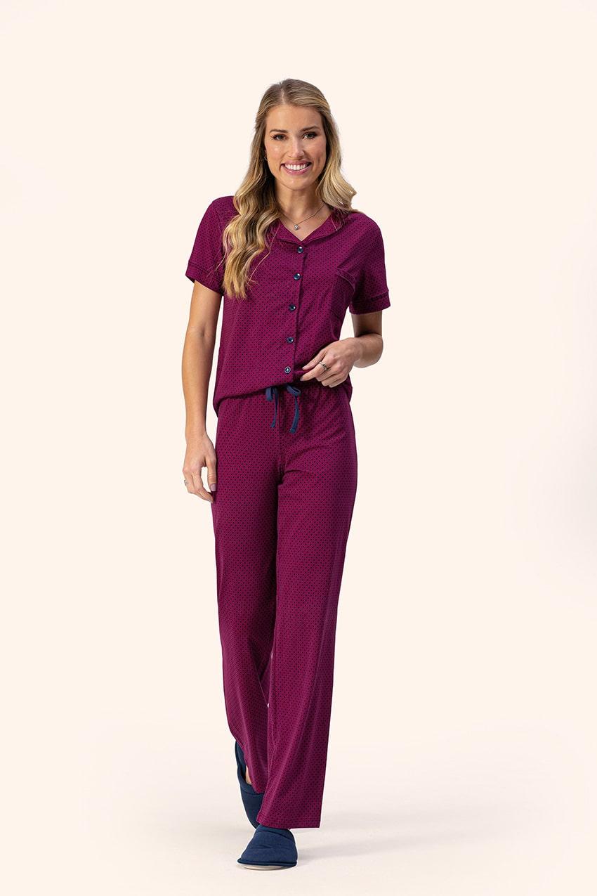 Pijama Feminino Adulto Lua Encantada Manga Curta com Abertura de botões e Calça Estampa Geométrica em Algodão 10220014