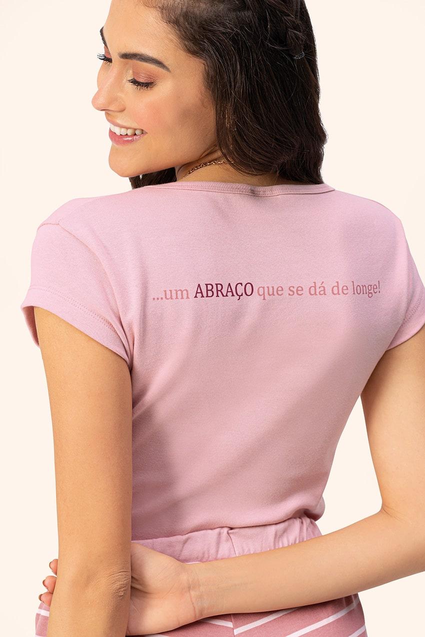 Pijama Feminino Adulto Lua Encantada Manga Curta Calça Sorriso Rose em Algodão 10380021
