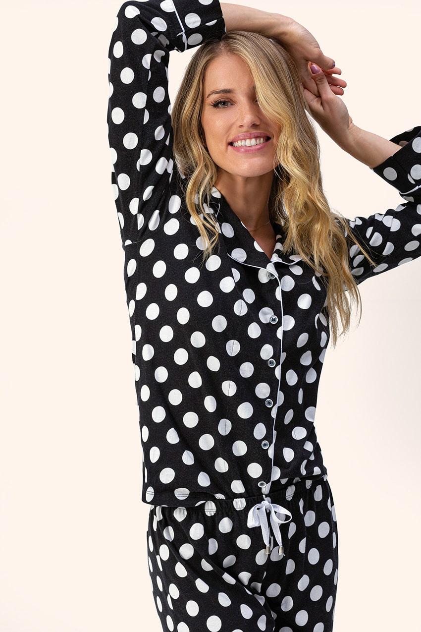 Pijama Feminino Adulto Lua Encantada Manga Longa Aberto com Calça Preto e Branco Poa em Algodão 10220008