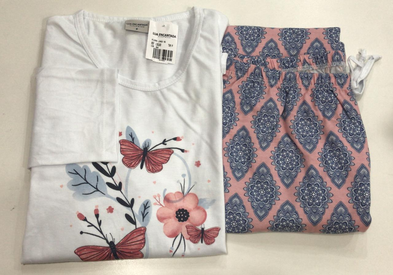 Pijama Feminino Adulto Lua Encantada Manga Longa borboletas com Calça estampada 933 em 100% algodão