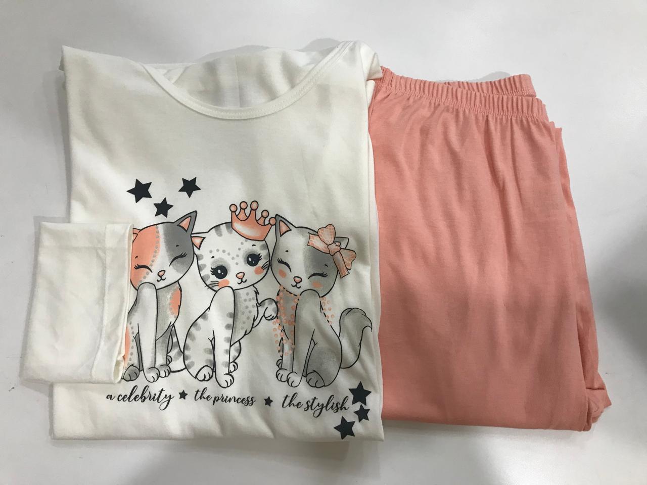 Pijama Feminino Adulto Lua Encantada Manga Longa  Cat salmon 346 em 100% algodão