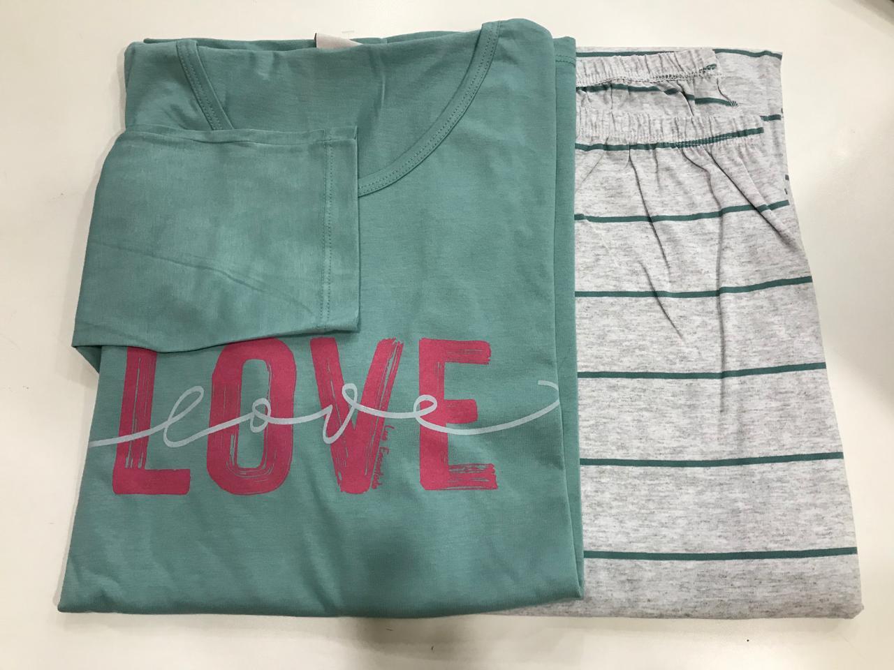 Pijama Feminino Adulto Lua Encantada Manga Longa com  Calça Love  133 em 100% algodão