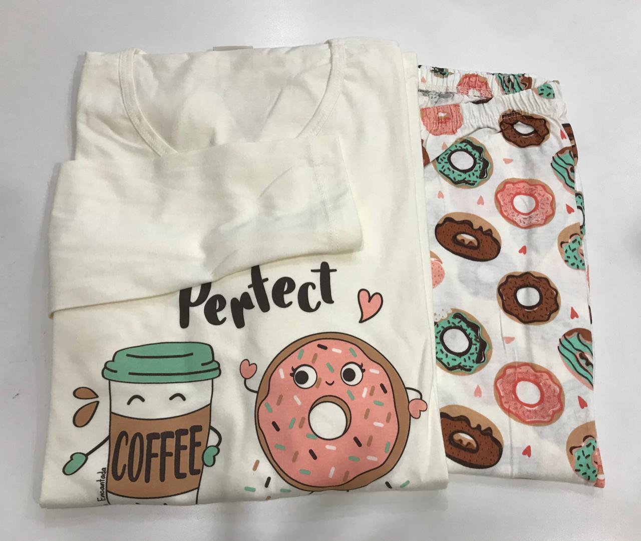 Pijama Feminino Adulto Lua Encantada Manga Longa com  Calça Perfect donuts  333 em 100% algodão