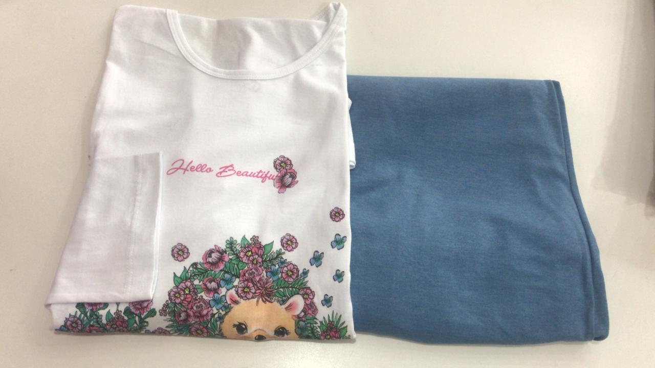 Pijama Feminino Adulto Lua Encantada Manga Longa  curso floral  247 em 100% algodão