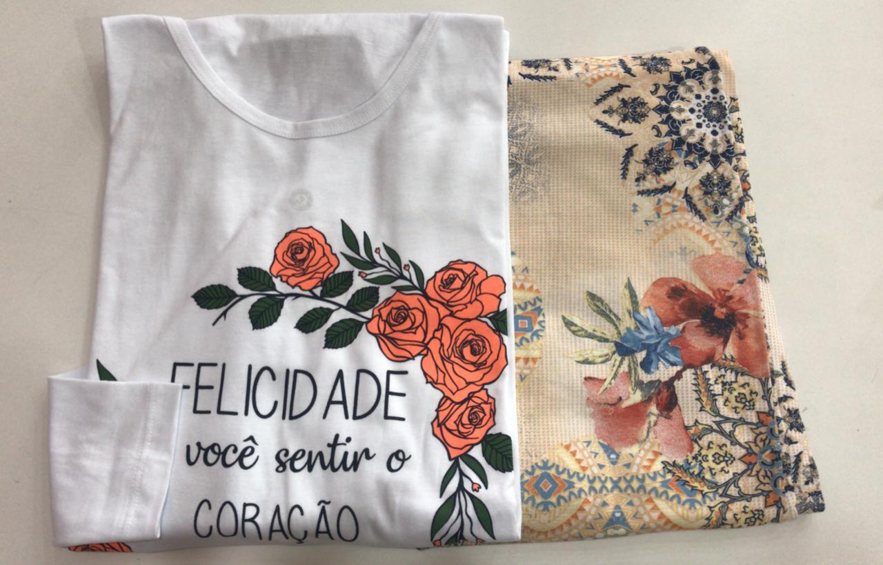 Pijama Feminino Adulto Lua Encantada Manga Longa Floral  felicidade é sentir você no coração 168 em 100% algodão