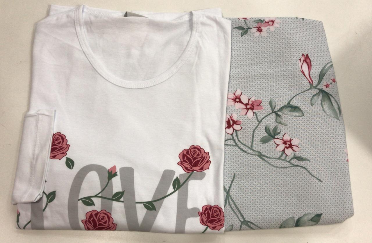 Pijama Feminino Adulto Lua Encantada Manga Longa  floral love 541 em 100% algodão